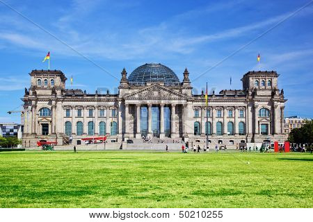 The Reichstag building of the German parliament Bundestag in Berlin, Germany