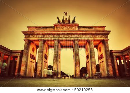 Brandenburg Gate. German Brandenburger Tor in Berlin, Germany at sunset