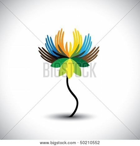 Water Lily(lotus) Flower With Petals  As Hands In Rainbow Colors- Vector Graphic