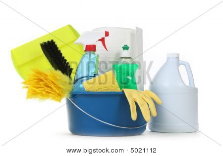 Blank Household Cleaning Supplies In A Bucket