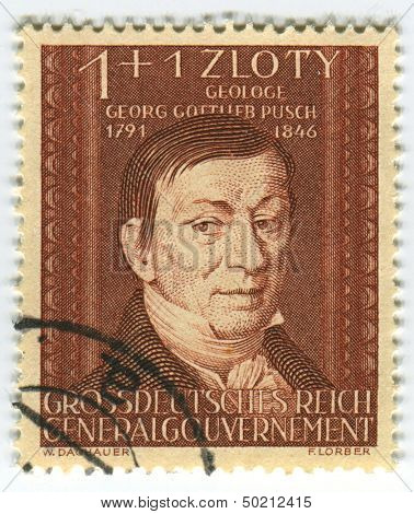 DEUTSCHES REICH  - CIRCA 1944: A stamp printed in Deutsches Reich shows image of the Georg Gottlieb Pusch was also under the name Jerzy Bogumil Pusz known as a geologist in Poland, circa 1944.