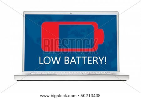 battery is getting low on modern laptop isolated on white background