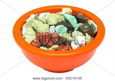 colorful sugar coated chocolate candy rocks