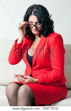 Business Woman And Phone