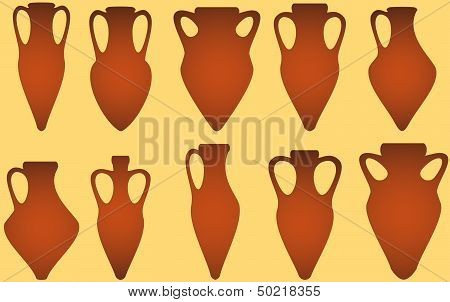 set isolated antique amphora
