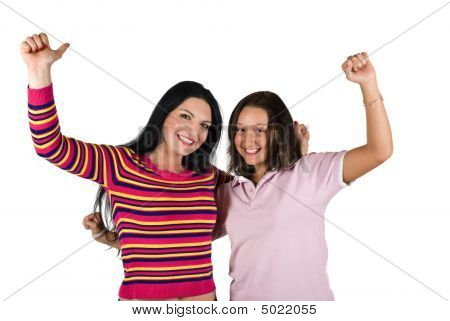 Two Happy Young Woman Won