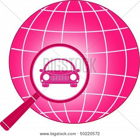 icon with planet, magnifier and car