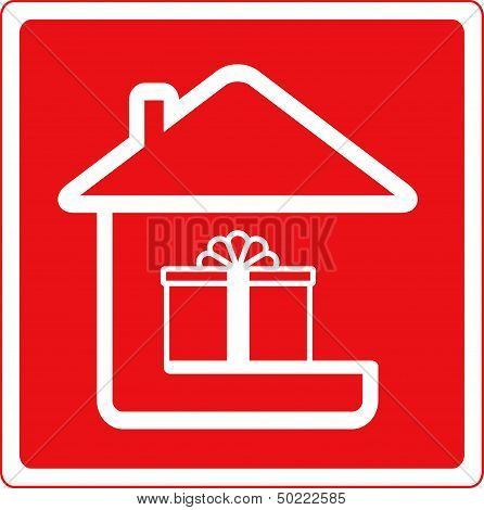 home holiday symbol and house silhouette