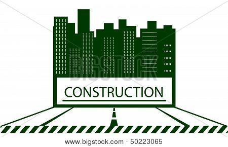 construction symbol with skyscraper