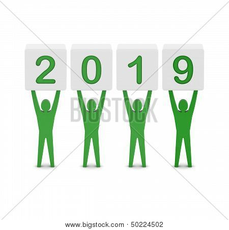 Men holding the 2019 year.