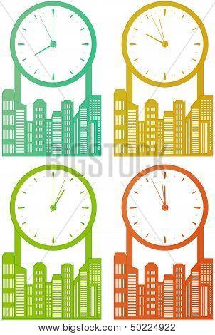 city skyscraper with clock