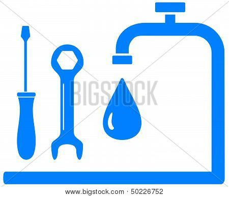 blue sign plumbing work