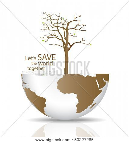Save the world, Dry tree on a deforested globe. Vector illustration. Stock Vector Illustration: