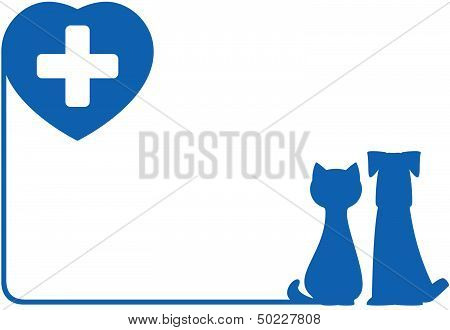 icon with dog, cat and heart