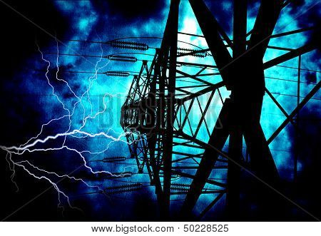 High Tension Power Lines with Electric