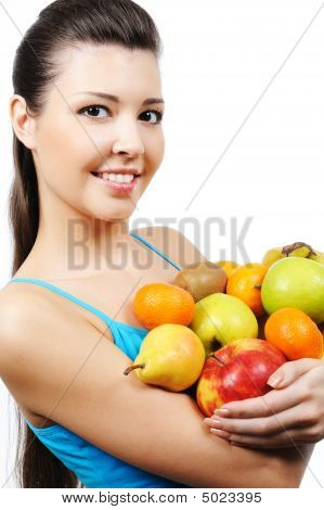 Woman Close-up With Fruits