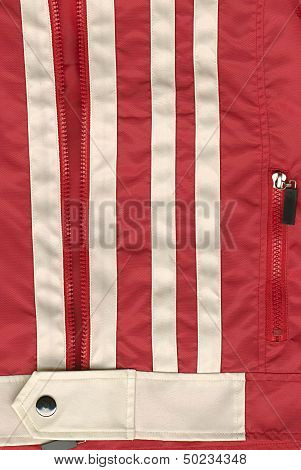 Detail Of Zipper On Red Jacket