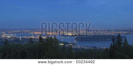 Vancouver Bc Cityscape At Blue Hour Panorama