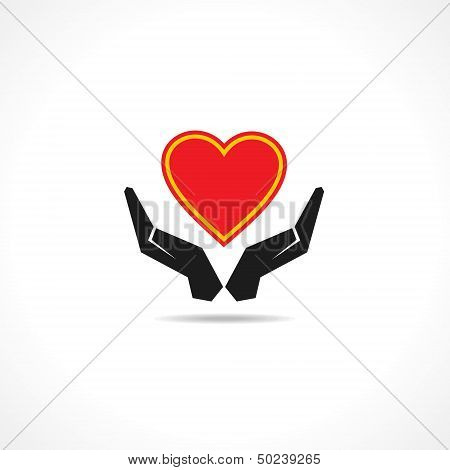 Hand protecting a heart icon