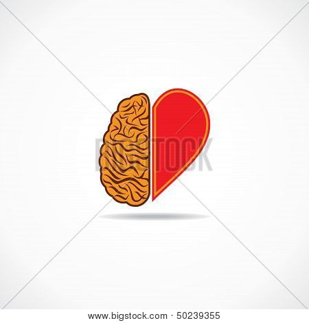 think from heart and brain concept