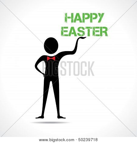 Man holding happy easter text
