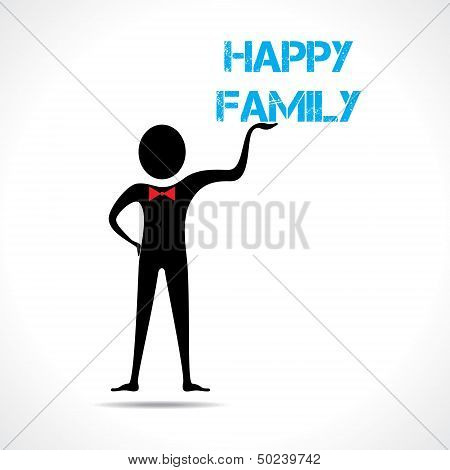 Man holding family text