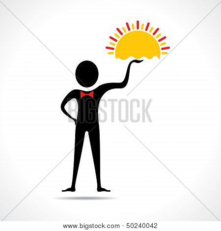 Man holding sun icon vector