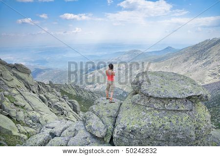 Summer Woman At Top Mountain