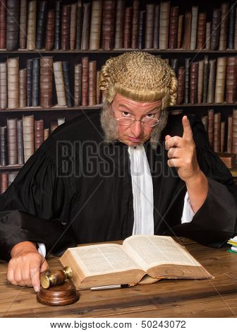 Judge with wig and gavel holding a speech to the convicted criminal