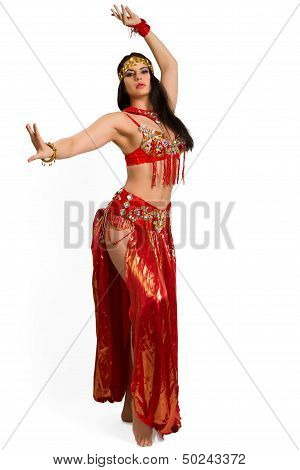 Young Girl In A Red Suit Oriental Dance