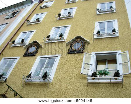 Ornamental Facade On The Building, Salzburg