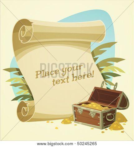 Pirate treasure chest. Vector illustration.