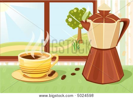 Fresh Cup Of Coffee In The Morning