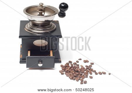 Old-fashioned manual burr-mill coffee grinder