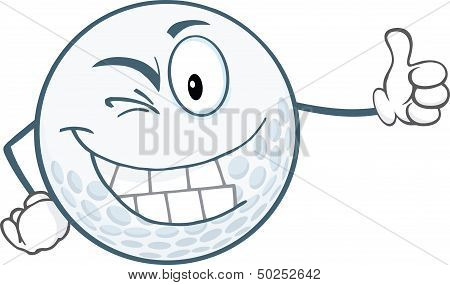 Winking Golf Ball Character Holding A Thumb Up