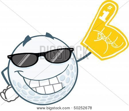 Golf Ball With Sunglasses And Foam Finger