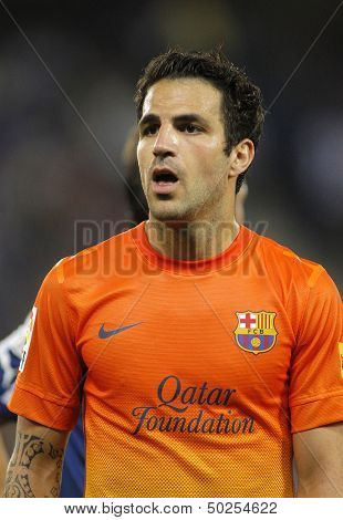 BARCELONA - MAY, 26: Cesc Fabregas of FC Barcelona during the Spanish League match between Espanyol and FC Barcelona at the Estadi Cornella on May 26, 2013 in Barcelona, Spain