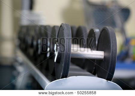 Lot of dumbbells in gym close-up