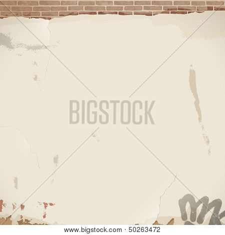 Old white cracked wall - eps 10 vector