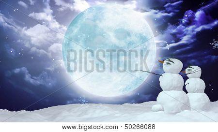 Christmas Snowman Loving Moon