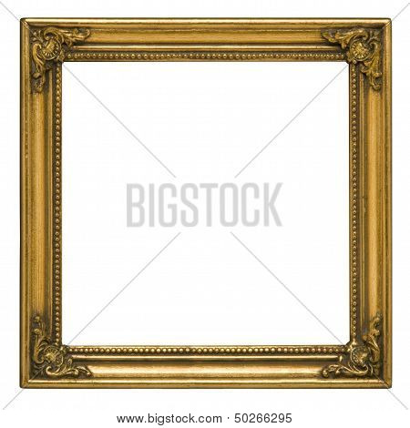 Antique Gold Square Picture Frame Against White