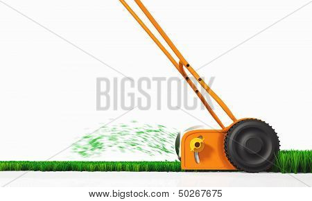 A Side View Of A Push Lawn Mower At Work