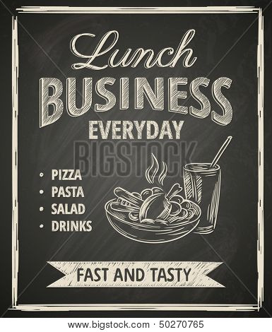 Business lunch poster on blackboard