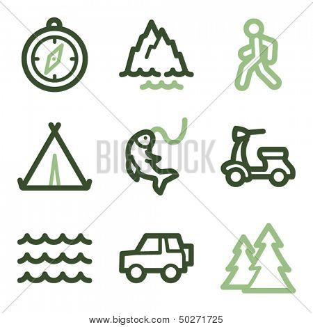 Travel icons set 3, green line contour series