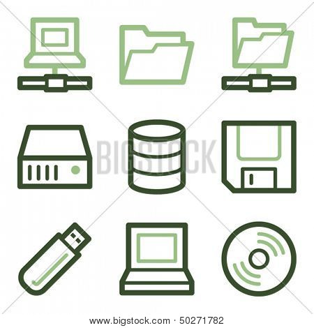 Drive and storage icons, green line contour series