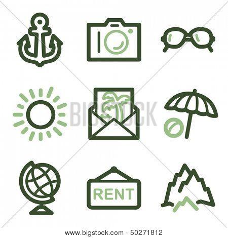 Travel icons set 5, green line contour series