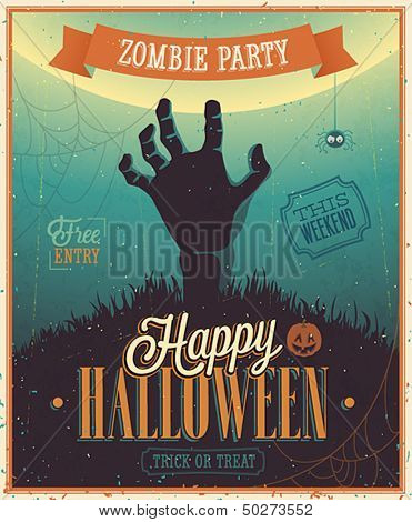 Halloween Zombie Party Poster. Vector illustration.