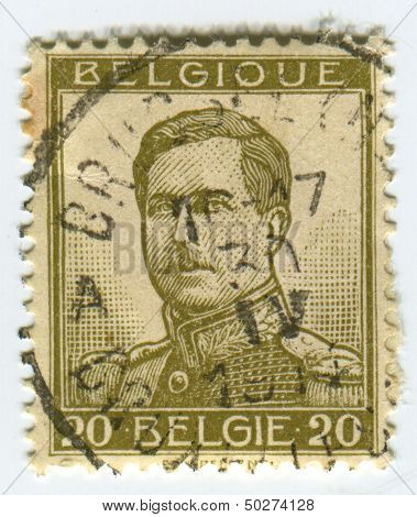 BELGIUM - CIRCA 1912: A stamp printed in Belgium shows image of the Albert I (April 8, 1875 - February 17, 1934) reigned as King of the Belgians from 1909 through 1934, circa 1912.