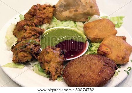 East Indian Food Appetizer Dish Closeup