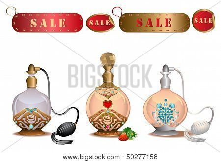 Perfume bottles with sale labels